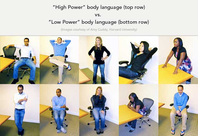 High power poses versus low power poses courtesy of Harvard Business School