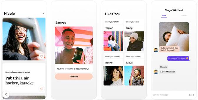 Hinge dating app review screenshots