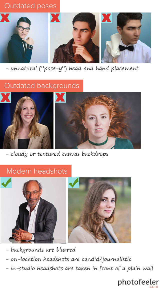 What makes a professional business headshot look dated or modern