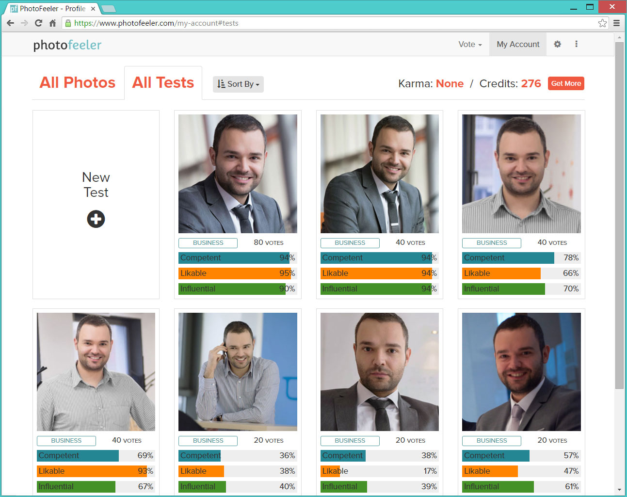 Photofeeler LinkedIn profile photo test results